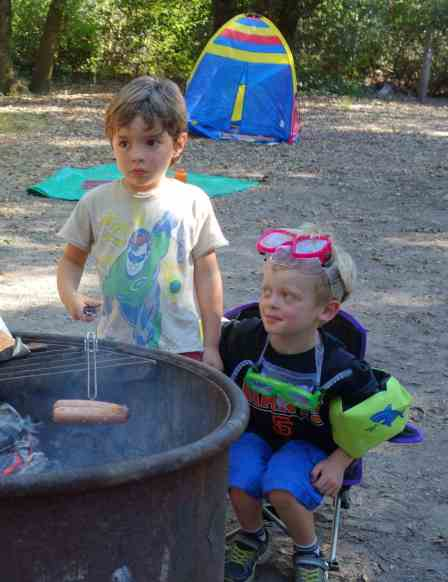 Building the campfire was a highlight of the day.  The kids were satisfied to take turns with the cooking chores.