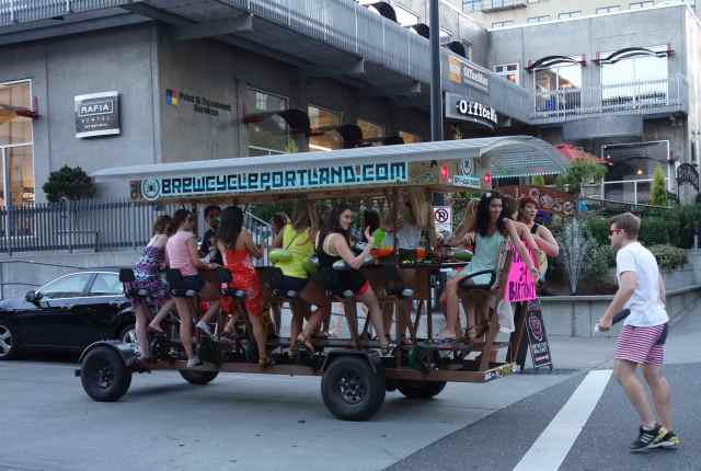 We have spotted BrewcyclePortland's people powered vehicle on many evening walks.  Everyone always seems very happy!