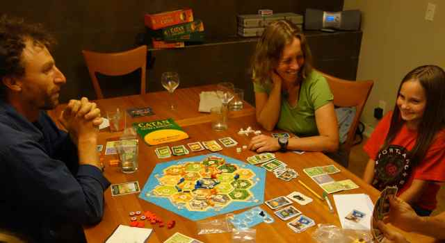 Sunday afternoon was the ideal time to play the game, Settlers of Catan, with family while nibbling on homemade sushi.
