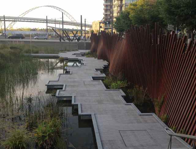 "Two parks are within a few blocks of where we live.    Tanner Springs Park is described as a ""pre-industrial wetlands."""