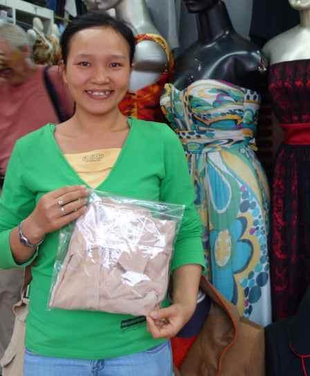 Beth's tan blouse made at Minh Loan