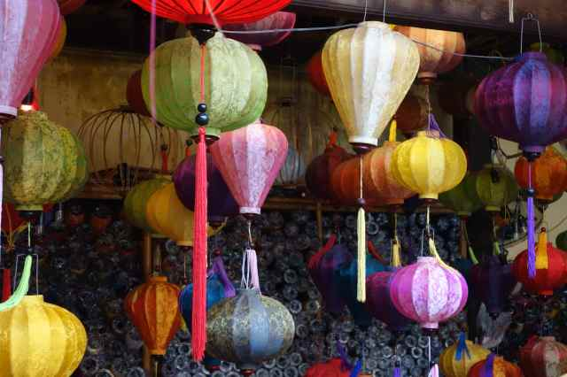 Hoi An is famous for its lanterns, made from strips of bamboo and covered with silk fabric.