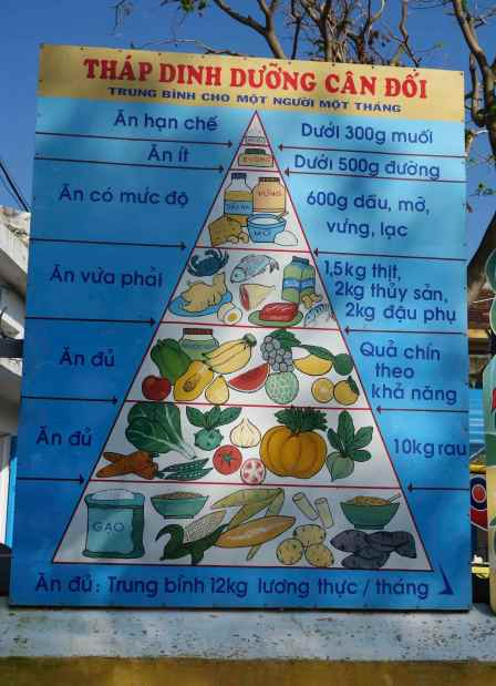 We spotted this food pyramid painted on a school wall in Hoi An.