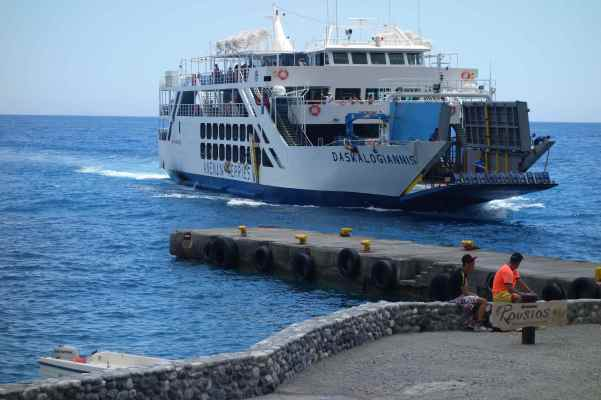 We looked out to the azure blue Libyan Sea and watched the ferry arrive.