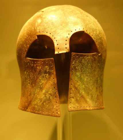 Bronze helmet from a Corinthian workshop, 7th century BC