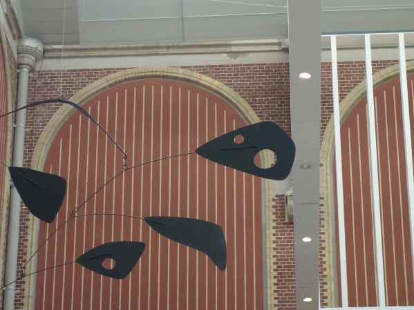 Our view as we dined: an Alexander Calder mobile.