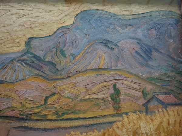 Van Gogh created hills with a few deft colorful strokes.