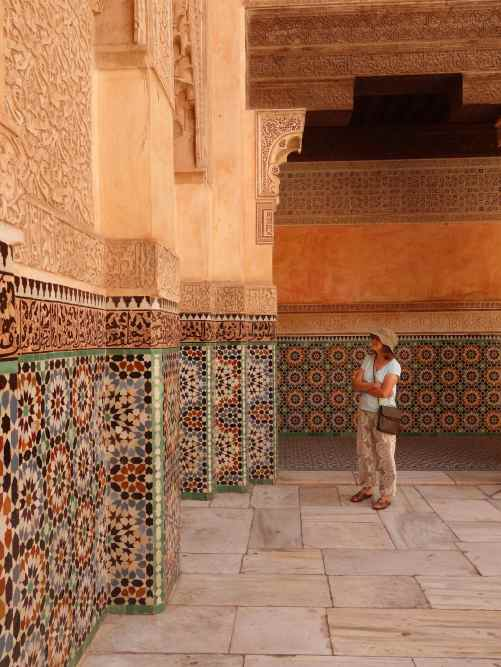 Angela at Ben Youssef Medersa admiring the tile work