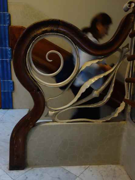 Iron and wood detail on the interior staircase