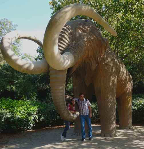 The path from the pond led to an enclosed area where the main attraction was hidden from view. Visitors waited patiently to have their photos taken with the mastodon.