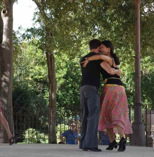 Nearby, couples danced in the bandstand, dedicated to Sonia Rescalvo Zafra, who was murdered by neo-Nazis for her gender identity in 1991.