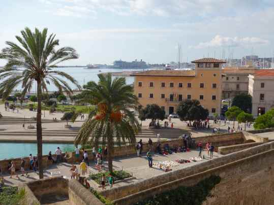 We stood on the palace terrace and admired its strategic setting in Palma De Mallorca.