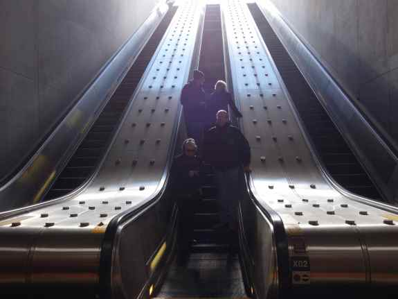 The best and quickest way to get to the museums is to drop down the long escalators…
