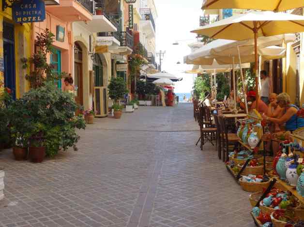 The shopped-lined street in Chania, Crete leads directly to the sea, but, if you turn right just before you get to the water, you'd come to the little studio apartment where we stayed. Who wouldn't find Chania a magical place?