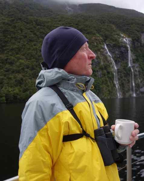 Joe's rain jacket is from REI. Photo taken in Doubtful Sound, NEW ZEALAND.