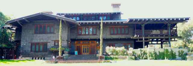 One of the most notable buildings in the American Arts + Crafts style is the Gamble House. Greene and Greene designed the house and furnishings, built in 1908.