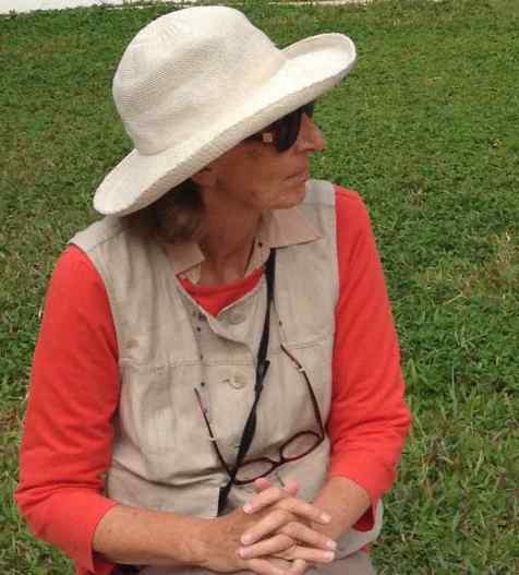 Beth didn't want a vest that looked like a travel vest, so she bought a light linen vest at J Jill and sewed pockets inside. The travel hat, wonderfully packable, is a Wallaroo. Photo taken in Siem Reap, CAMBODIA.