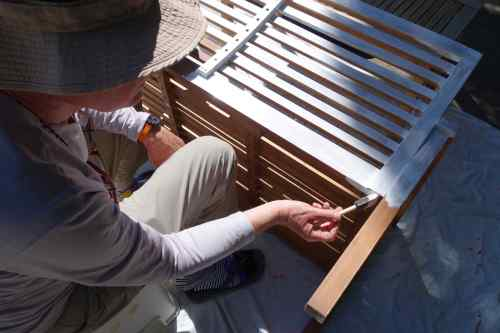 We primed and painted patio furniture.