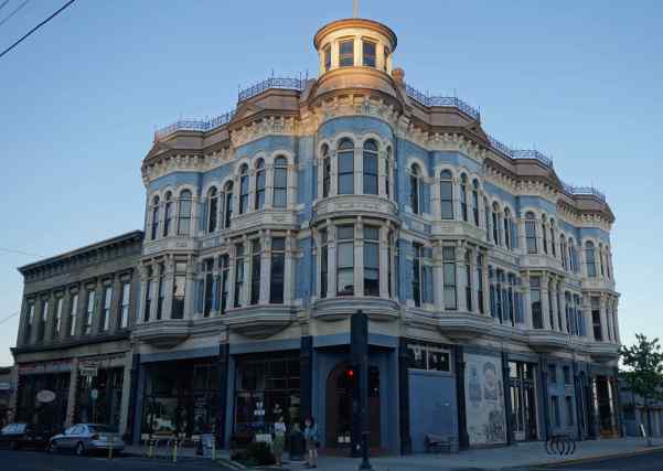We photographed the downtown Victorian building in the early evening and hadn't noticed the glowing top until we uploaded the image.