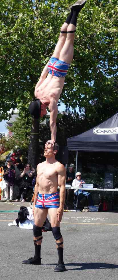 How many thought it was possible to do a handstand on someone's head? When the smaller English Gent sipped some water before this move, the larger Gent (considerd the weight of the water and) asked his partner if he couldn't have waited 5 minutes until after the move?