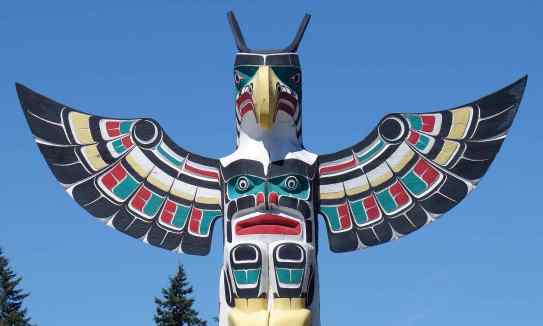 "The Thunderbird brings together both strength and supernatural in the ""Sea and Sky"" Totem by Harold Alfred of the Kwakwaka'wakw people"