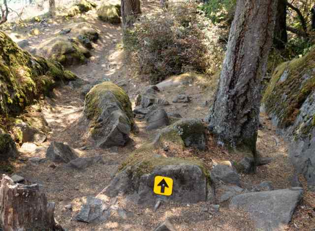 The path alternates between scrambling over glacially-grooved stone and navigating a dirt path littered with large rocks.