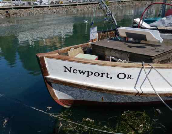 We walked on the dock in the marina. Informative placards about fish caught in the nearby waters lined the walkway. The fleet of fishing boats in the harbor told the tale that Newport still is an active center of fishing on the Oregon coast.