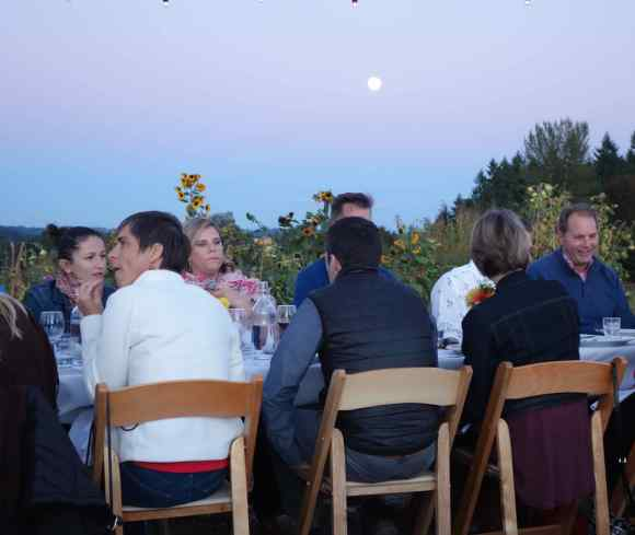 The first course started in the late sunny afternoon, continued as the moon rose, and finished in the dark evening.