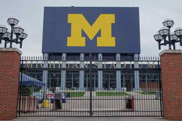 Michigan Stadium, Ann Arbor – 1927, seating capacity 115,000. The stadium looks smaller than it really is since most of the seating is below ground level.