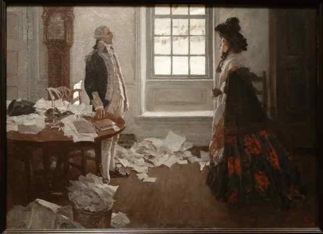 """PENNSYLVANIA – Chadds Ford. The titles of the paintings were almost as interesting as the artwork: """"'My dear,' said General Washington, 'Captain Prescott's behavior was inexcusable.'"""" Howard Pyle, 1896. Look for it, and other wonderfully titled art, at the Brandywine River Museum of Art."""