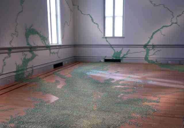 "Folding the Chesapeake"", by Maya Lin, 2015, marbles and adhesive"