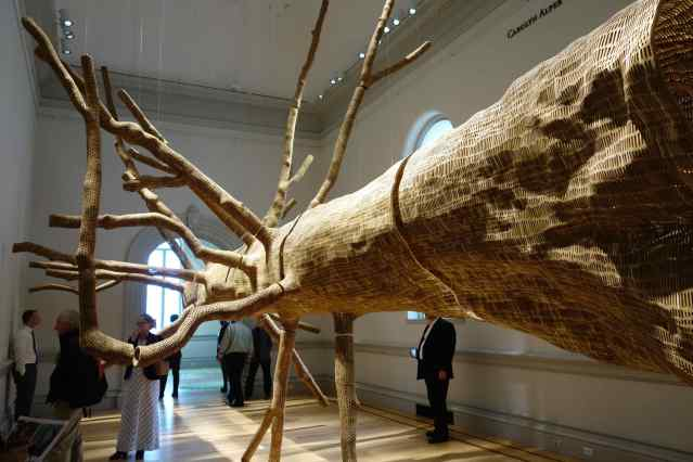 """In another room we saw """"Middle Fork"""", by John Grade, 2105, made of reclaimed old-growth western red cedar."""