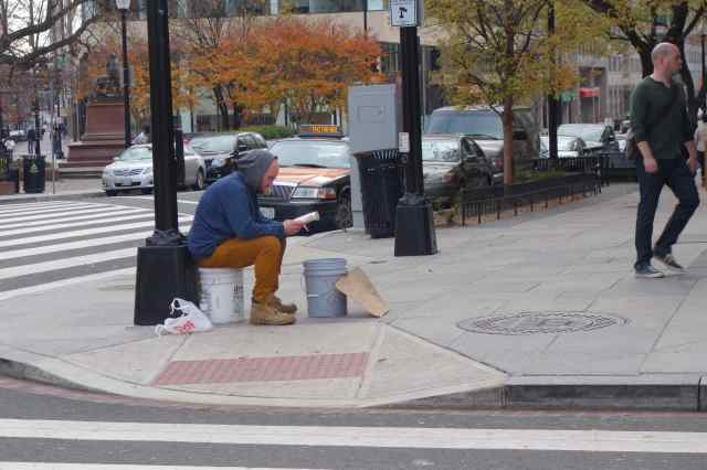 Homeless people and those looking for a handout frequent Connecticut Avenue.