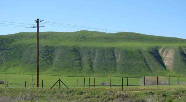 One photograph presented lines: crisscross patterns in the hills, vertical fence posts, horizontal phone lines.