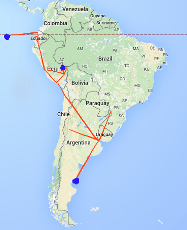 "We started with three destinations (the three blue circles): Galapagos Islands off Ecuador, Machu Picchu in Peru, and Bahia Bustamante in Argentina. Then we ""connected"" the destinations with other places of interest to fill our planned 7+ months itinerary."