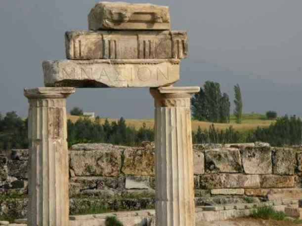 You also guessed this was a Greek or Roman ruin, and it is: the ancient Greek ruins of Hierapolis in Pamukkale, Turkey.