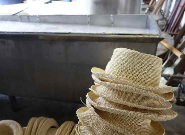 Each hat is washed twice and dried. This process takes about two weeks. If the entire hat is to be colored, the dying happens at this stage.