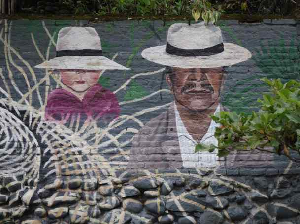 Panama hats are made in Cuenca so a long stretch of wall by the Tomebamba River has been devoted to a celebration of the local product.