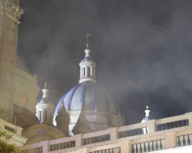 We looked up at the Cathedral and could only see it through a haze of smoke.