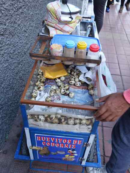 """This food cart was selling ready to eat """"codorniz."""" We looked it up in our Spanish dictionary: quail eggs."""