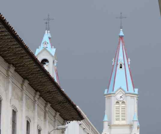 The blue church towers are a telling sign. In Cuenca, many of the churches are decorated with bright paint, with very little marble, if any, and with less expensive materials than we saw in many European churches.