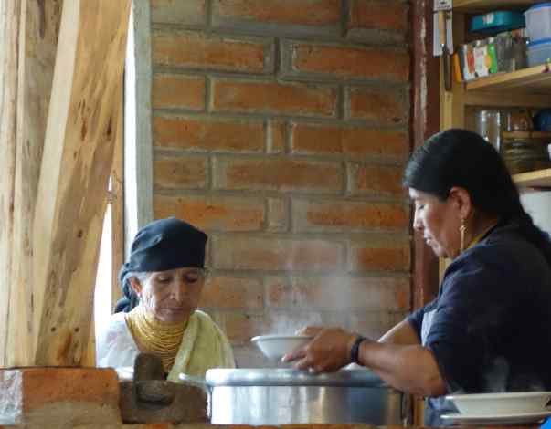 After a long morning we were ready for something to eat. Fortunately for us, there was a little café in the park. We sat on wooden stools and watched as the cooks ladled out traditional quinoa soup into bowls for us.