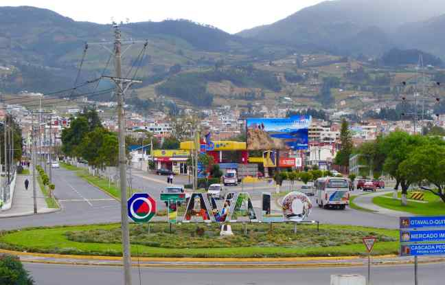 """Again, we weren't certain we were on the right path back to town until we saw the greeting in huge bright colors, """"Otavalo""""! Almost home."""