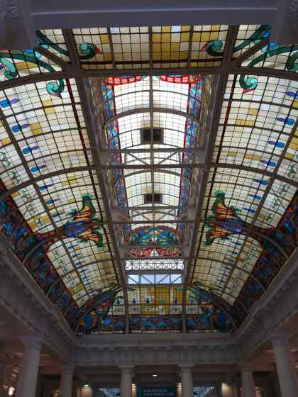 We wandered in, looked at the display of books published in Peru, and admired the skylight in the center hallway. Later we discovered the building used to be the railway station.