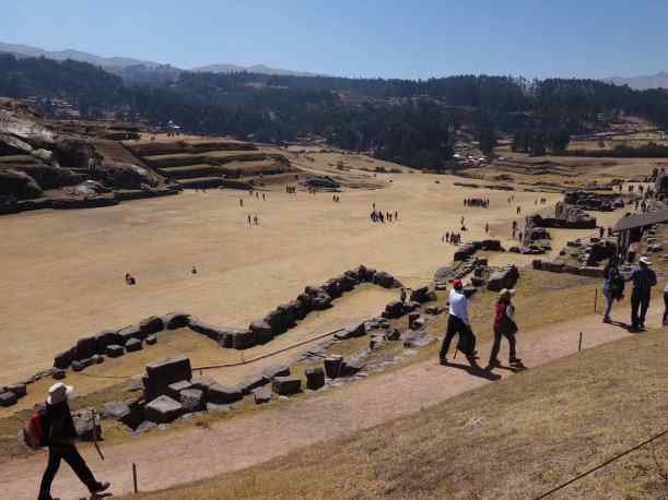 Long zigzag walls line an expansive open plaza. This was the only Inca site where we saw walls like this.