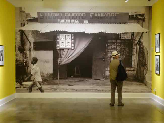The special exhibit featured the work of the African photographer, Hamidou Maiga. The image on the wall was his first studio in Bamako, Mali in 1973.
