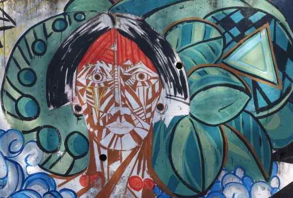 We dropped down to a park along the Iguazu River and spotted another, very different, painted face.