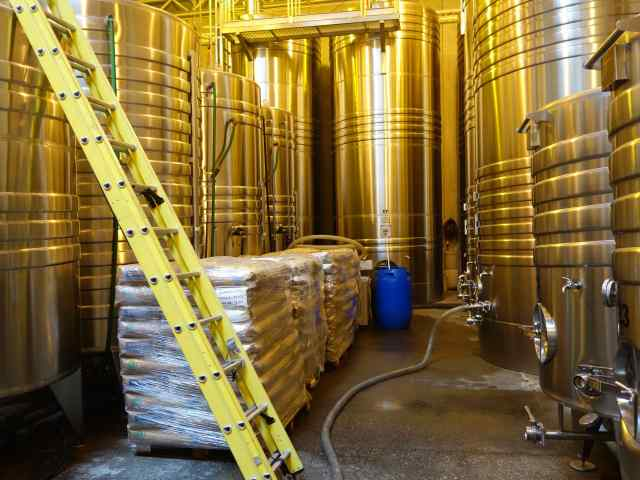 The 3rd winery, Bodega Cruzat, produces sparkling wines requiring very tall stainless steel vats in the shape of silos. Yeast and sugar (bags conveniently placed nearby) are essential in the fermentation process.
