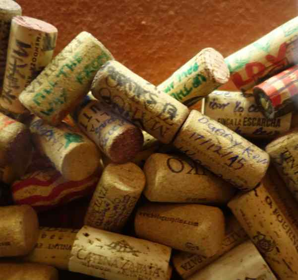 Matias gave us corks to sign and drop into the tasting room's wall display.