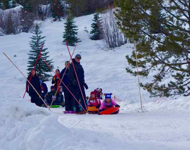 Colorful sledders lined up at the top of the slope, waiting for the signal to take off.